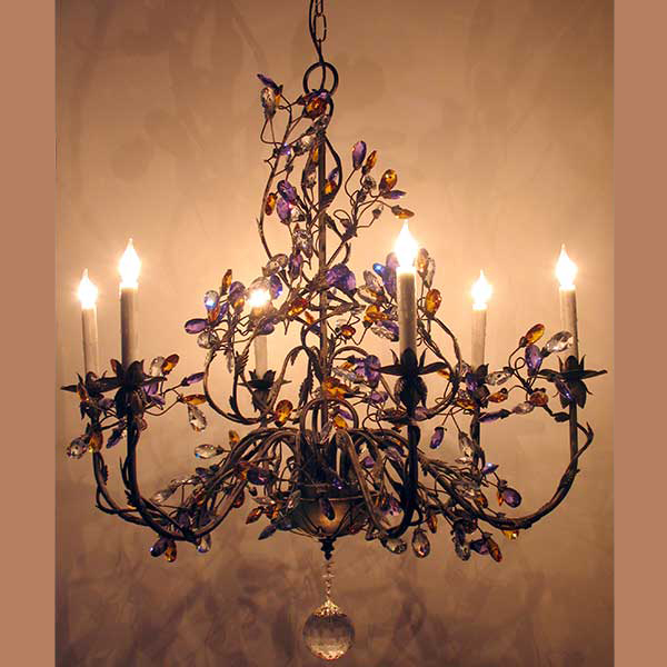 Lantern masters los angeles ca custom lighting sharyns large iron chandelier shown with optional strass colored crystals aloadofball Choice Image